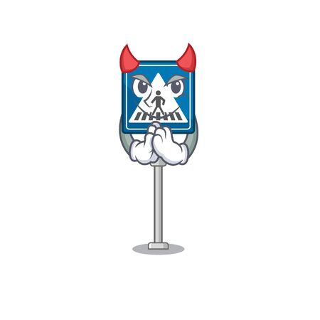 Devil miniature crosswalk sign in form mascot vector illustration Stock Illustratie