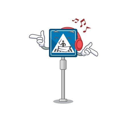 Listening music miniature crosswalk sign in form mascot vector illustration
