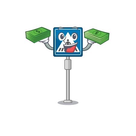 With money bag miniature crosswalk sign in form mascot vector illustration Stock Illustratie