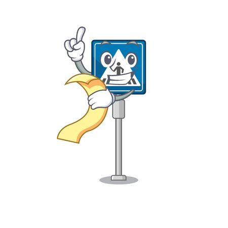 With menu miniature crosswalk sign in form mascot vector illustration