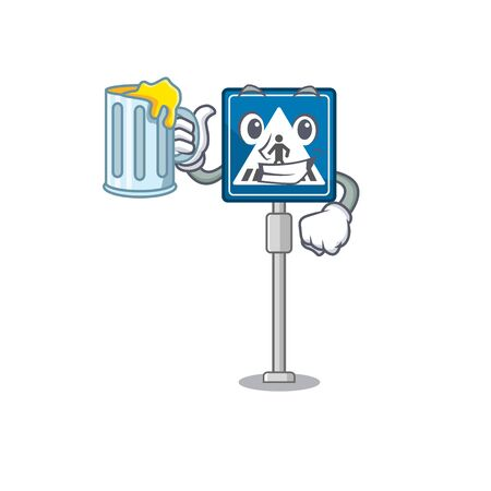 With juice miniature crosswalk sign in form mascot vector illustration