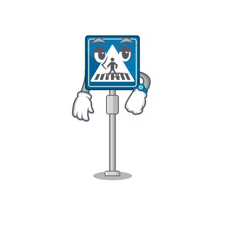 Waiting crosswalk sign with the character shape vector illustration
