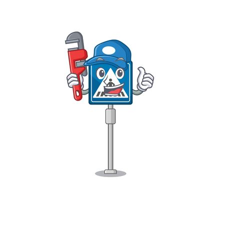 Plumber crosswalk sign with the character shape vector illustration 向量圖像