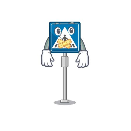 Silent crosswalk sign with the character shape vector illustration