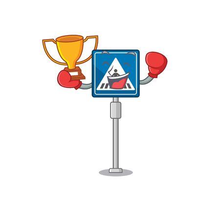 Boxing winner crosswalk sign with the character shape vector illustration Stock Illustratie
