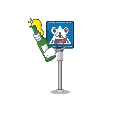 With beer crosswalk sign with the character shape vector illustration