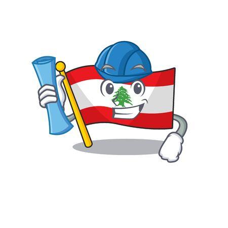 Architect flag lebanon raised above mascot pole vector illustration Stock Illustratie