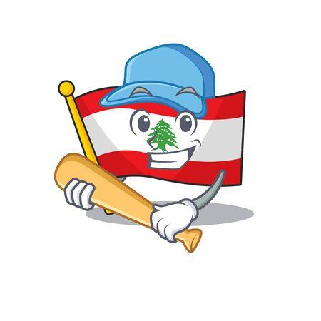 Playing baseball flag lebanon mascot isolated the cartoon vector illustration