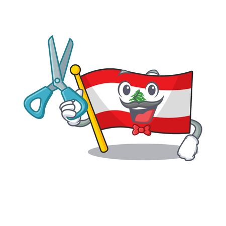 Barber flag lebanon mascot isolated the cartoon vector illustration