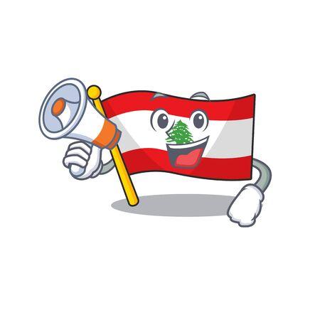 With megaphone flag lebanon mascot isolated the cartoon vector illustration