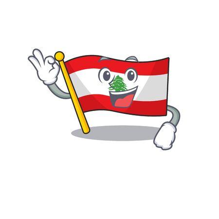 Okay flag lebanon raised above mascot pole