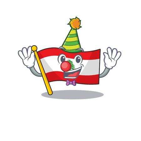 Clown flag lebanon with the character shape Çizim