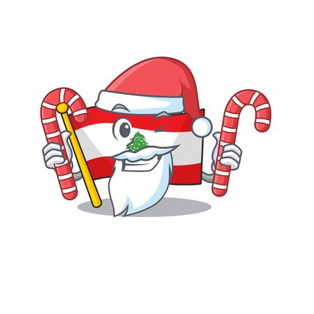Santa with candy flag lebanon with the character shape vector illustration