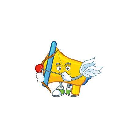Cupid yellow loudspeaker cartoon character for bullhorn