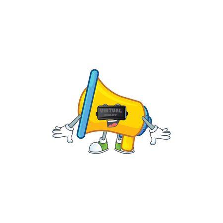 Virtual reality yellow loudspeaker mascot on white background