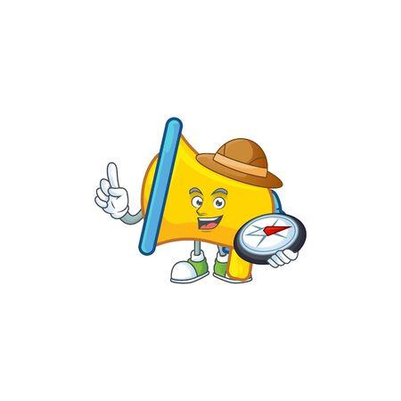Explorer yellow loudspeaker mascot on white background  イラスト・ベクター素材