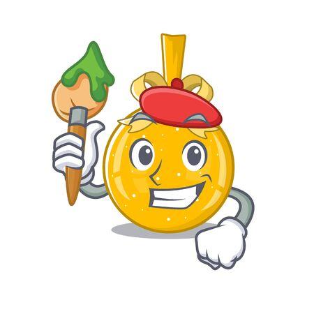 Artist christmas ball gold isolated the mascot vector illustration