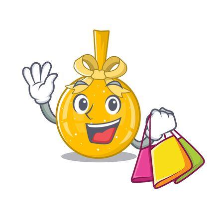 Shopping christmas ball gold shape the cartoon vector illustration Illustration