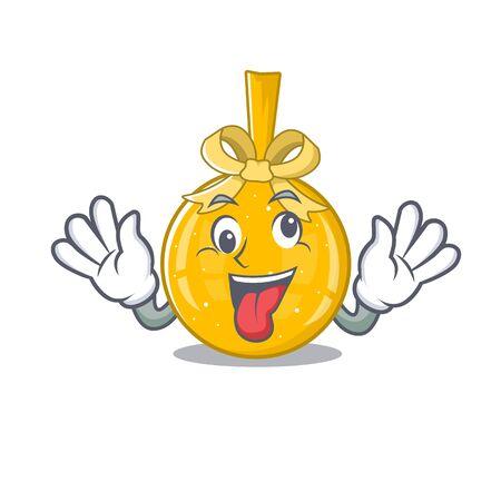 Crazy golden christmas balls hung cartoon walls vector illustration
