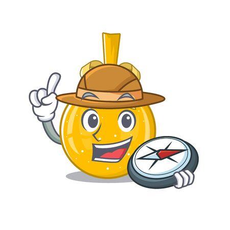 Explorer christmas ball gold on a character vector illustration