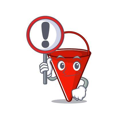 With sign fire bucket mascot shape on cartoon vector illustration Иллюстрация
