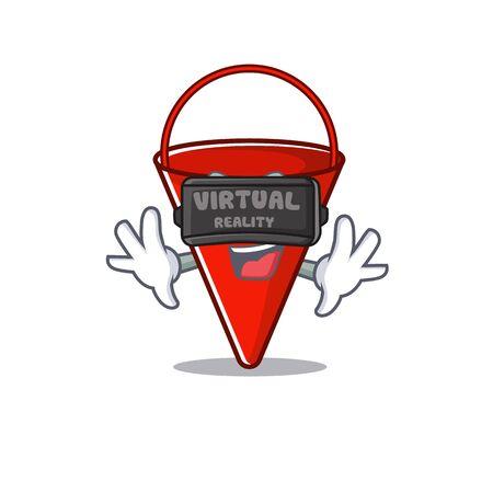 Virtual reality fire bucket cartoon in the yard vector illustration