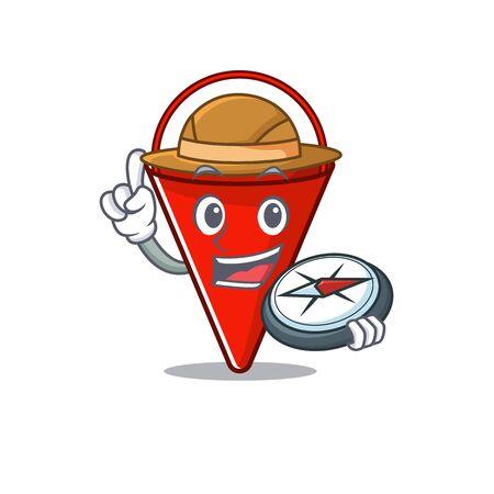 Explorer fire bucket cartoon in the yard vector illustration