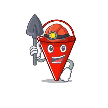 Miner fire bucket cartoon in the yard vector illustration