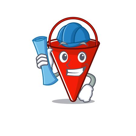 Architect fire bucket isolated with the cartoon vector illustration