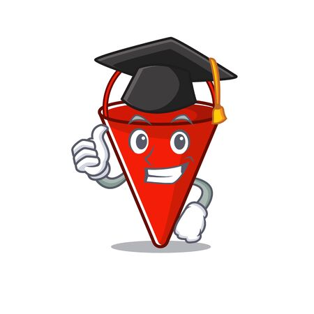 Graduation fire bucket isolated with the cartoon vector illustration