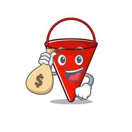 With money bag fire bucket mascot shape on cartoon vector illustration Иллюстрация