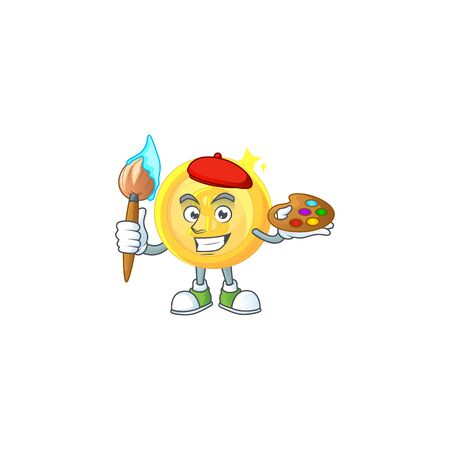 Painter gold coin with design character mascot Stock Illustratie
