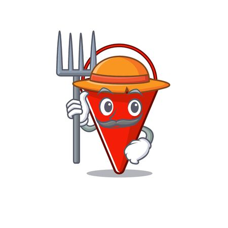 Farmer fire bucket mascot shape on cartoon vector illustration