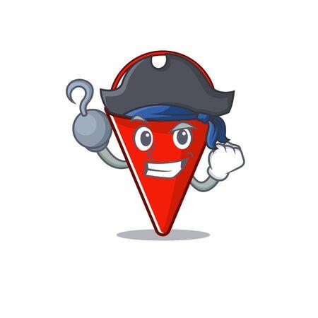 Pirate fire bucket mascot shape on cartoon vector illustration Иллюстрация