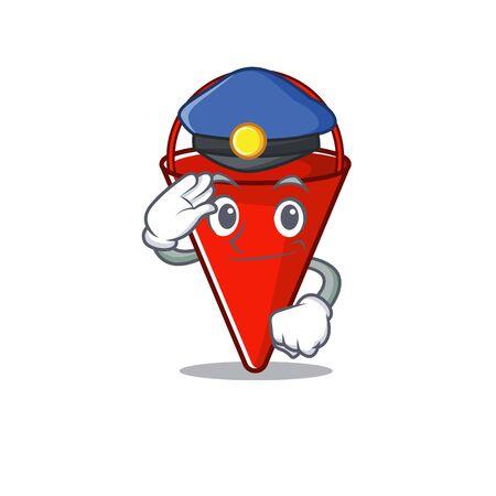 Police fire bucket mascot shape on cartoon vector illustration Иллюстрация