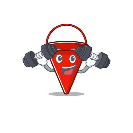 Fitness fire bucket mascot shape on cartoon vector illustration
