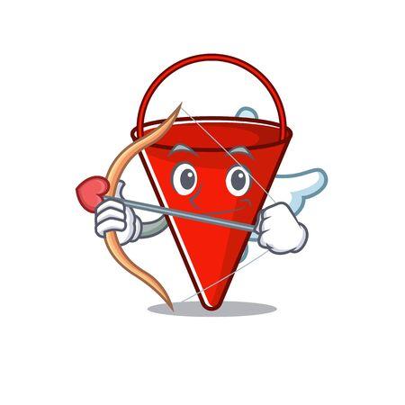 Cupid fire bucket mascot shape on cartoon vector illustration Çizim