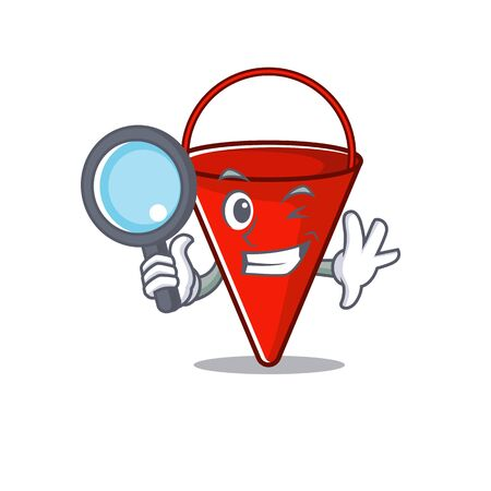 Detective fire bucket isolated with the cartoon vector illustration