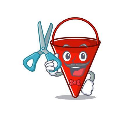 Barber fire bucket mascot shape on cartoon vector illustration