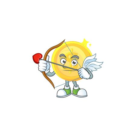 Cupid gold coin with design character mascot
