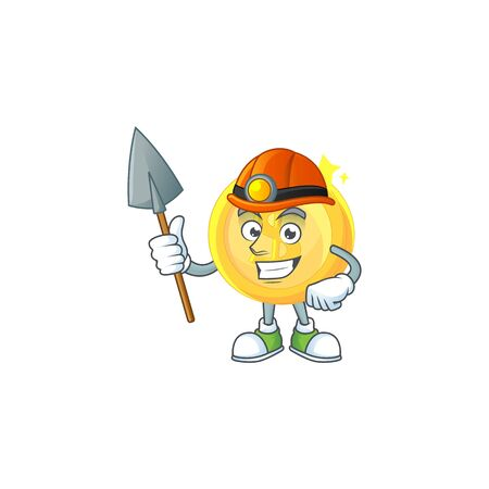 Miner gold coin cartoon character for payment vector illustration Stock Illustratie