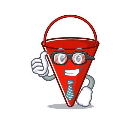 Businessman fire bucket isolated with the cartoon vector illustration Illustration