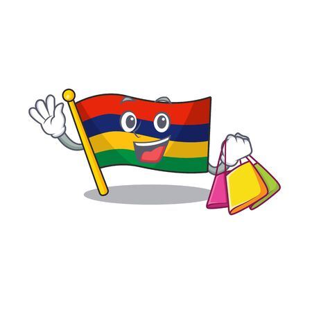Shopping flag mauritius hoisted above cartoon pole vector illustration Illustration