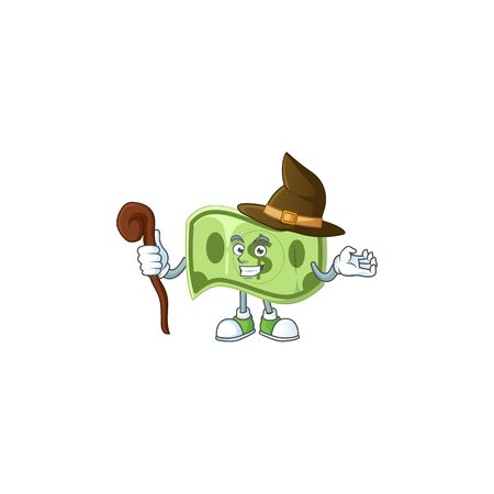 Witch paper money cartoon character mascot style vector illustration