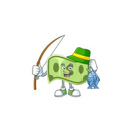 Fishing paper money cartoon character mascot style vector illustration