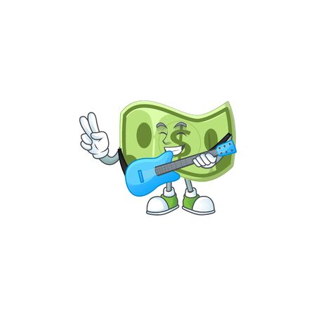 With guitar paper money cartoon character mascot style