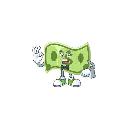 Waiter paper money cartoon character mascot style