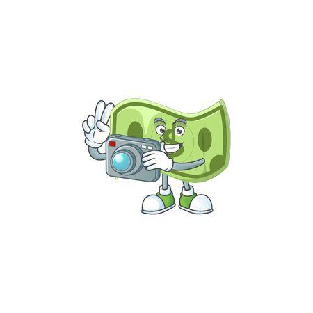 Photographer paper money cartoon character mascot style