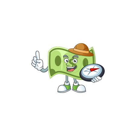 Explorer paper money cartoon character mascot style Ilustrace