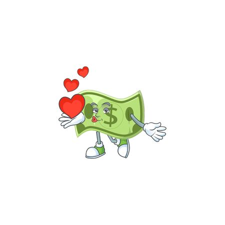 With heart paper money cartoon character mascot style